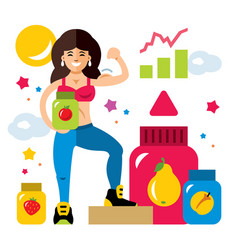 Sports nutrition and girl flat style vector