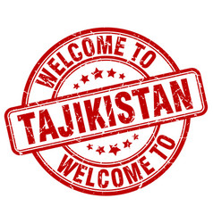 Welcome to tajikistan red round vintage stamp vector