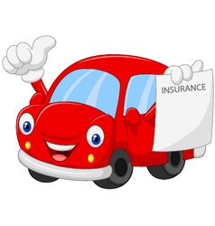 Cartoon car holding insurance paper and giving thu vector image