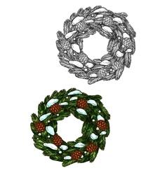 Christmas wreath sketch fir branches pine cones vector image