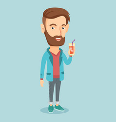 man drinking cocktail vector image