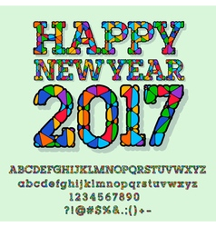 Patched bright Happy New Year 2017 greeting card vector image