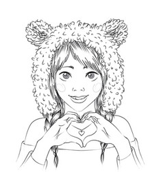portrait of a cute girl in animal hat vector image