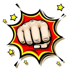 Punching hand with clenched fist vector image vector image