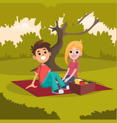young happy couple sitting on picnic blanket in vector image vector image