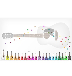 A Set of Colorful Acoustic Guitars Background vector image vector image
