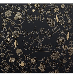 Handwritten Christmas slogan with many flowers vector image vector image