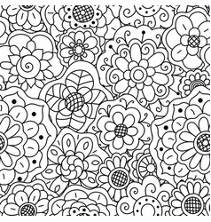 seamless pattern of hand drawn floral doodle vector image vector image