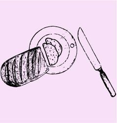 sliced loaf board knife vector image vector image