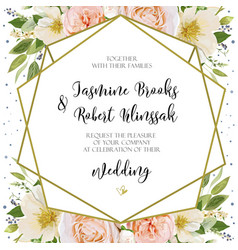 Wedding invitation invite card design with pink vector