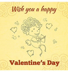 Wish you a happy Valentines Day greeting card vector image vector image