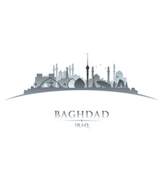 baghdad iraq city skyline silhouette white vector image vector image