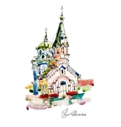 freehand sketch watercolor painting of Church in vector image vector image