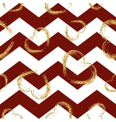 Golden sketch hearts seamless pattern zig zag red vector