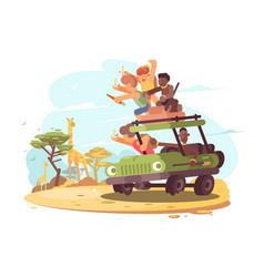 group of tourists on safari vector image vector image