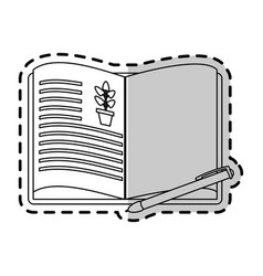 open book with plant drawing icon imag vector image