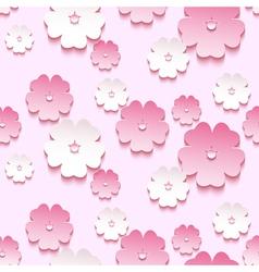 Spring background seamless pattern 3d sakura vector image