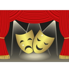 Theatrical masks on red curtains background vector image vector image