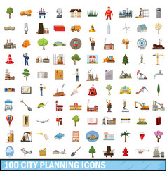 100 city planning icons set cartoon style vector image