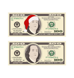 100 dollars banknotes set christmas bill one vector