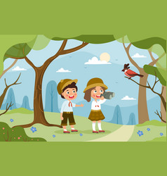 a young brother and sister explore forest vector image