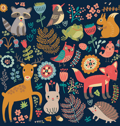 Animal forest pattern vector