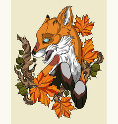 autumn fox vector image