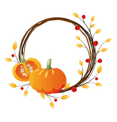Autumn wreath with pumpkins vector
