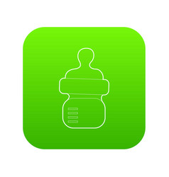 Baby bottle with milk icon green vector