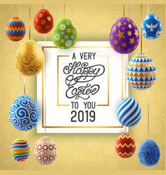background with hanging on ribbons painted eggs vector image