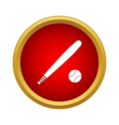 Baseball bat and ball icon in simple style vector image
