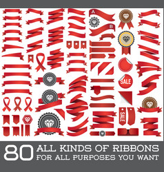 Big Set of Ribbons and Labels in Retro and Vintage vector image