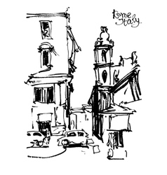 Black and white freehand sketch drawing rome vector