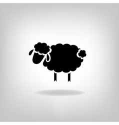 black silhouette sheep on a light background vector image
