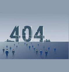 Business people group walking to 404 not found vector