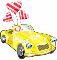car with hearts cartoon vector image