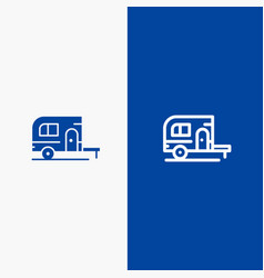 caravan camping camp travel line and glyph solid vector image