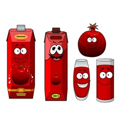 Cartoon happy smiling pomegranate juice characters vector image