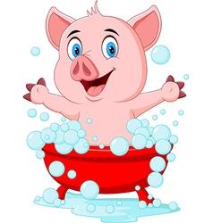 Cartoon pig bathing waving hand vector image
