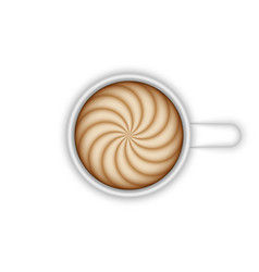 ceramic coffee cup latte art top view realistic vector image