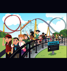 children waiting in line for a roller coaster ride vector image