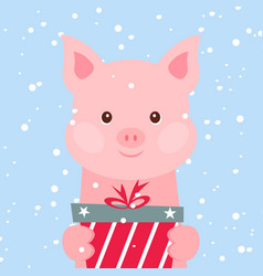christmas card portrait of pink pig with gift box vector image