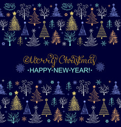 christmas card with hand drawn trees vector image