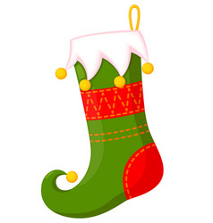 colorful cartoon christmas stocking vector image