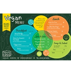 Colorful organic food vegan restaurant menu vector