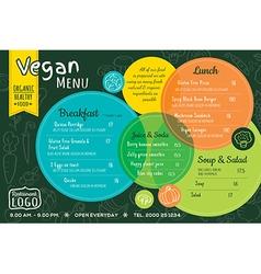 colorful organic food vegan restaurant menu vector image