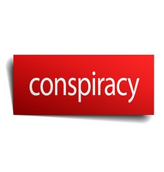Conspiracy red paper sign isolated on white vector