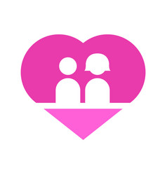 Couple in love heart graphic vector