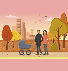 couple with pram family people in park vector image