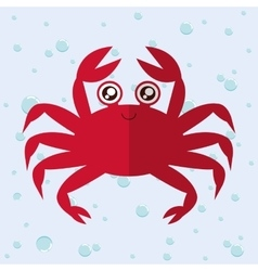 Crab cartoon over bubbles background vector